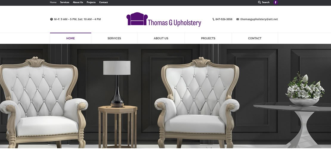 Thomas Upholstery web design lakeview il business