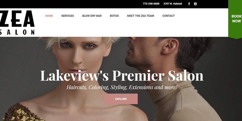 Zea Hair Salon wordpress design