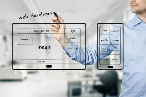 website layout with user interface design