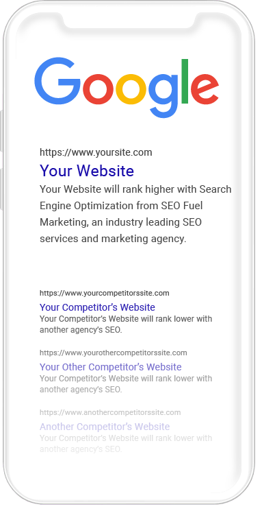 SEO results in Google on mobile phone
